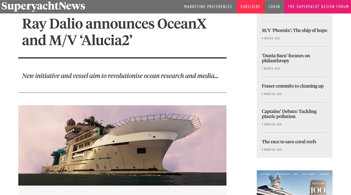 SuperyachtNews.com report on Alucia2 image