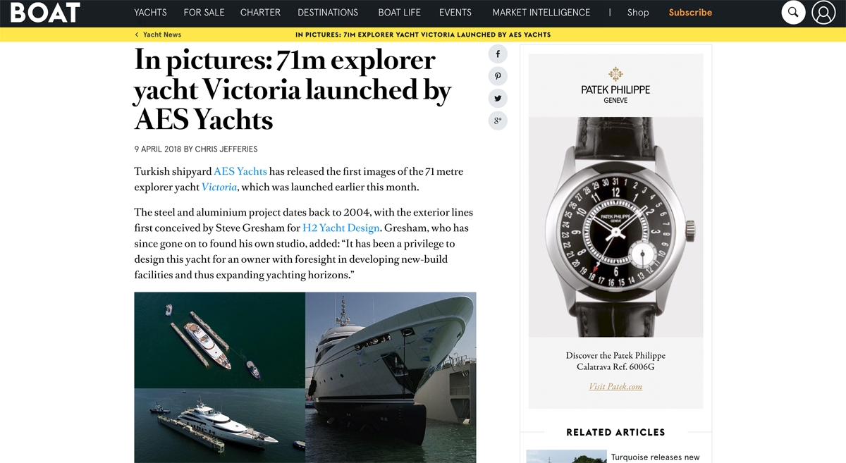 News image for 71m explorer yacht Victoria launched by AES Yachts