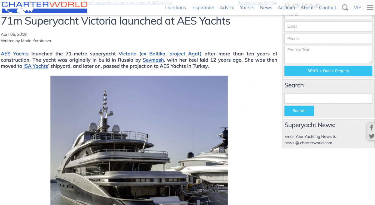 News image for 71m Superyacht Victoria launched at AES Yachts