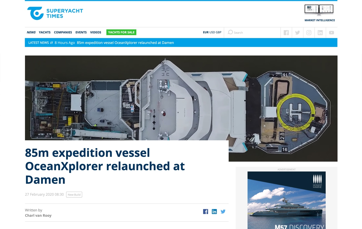 News image for OceanXplorer relaunched at Damen
