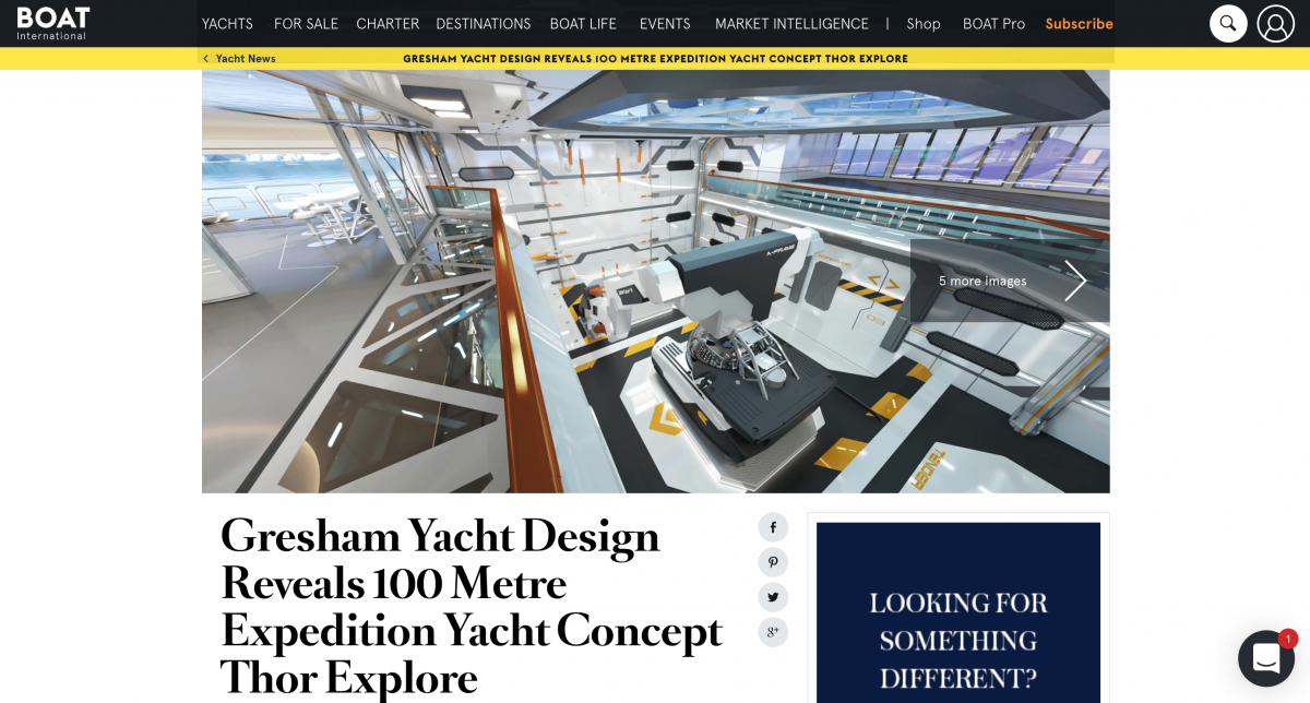 News image for Gresham Yacht Design Reveals 100 Metre Expedition Yacht Concept Thor Explore